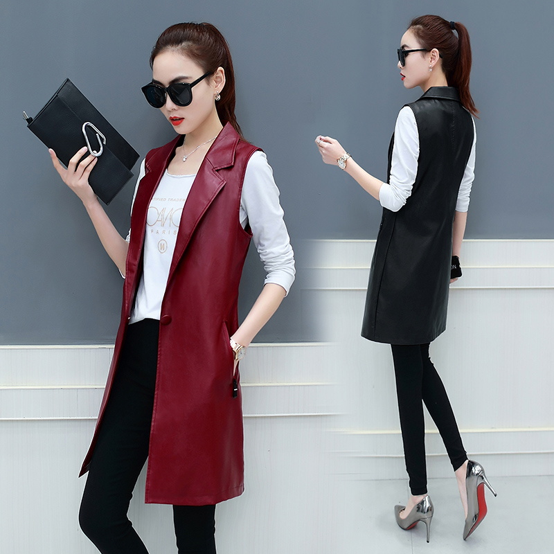 Spring and Autumn 2019 new Korean Slim women's suit collar PU leather long vest large size waistcoat jacket TB18206