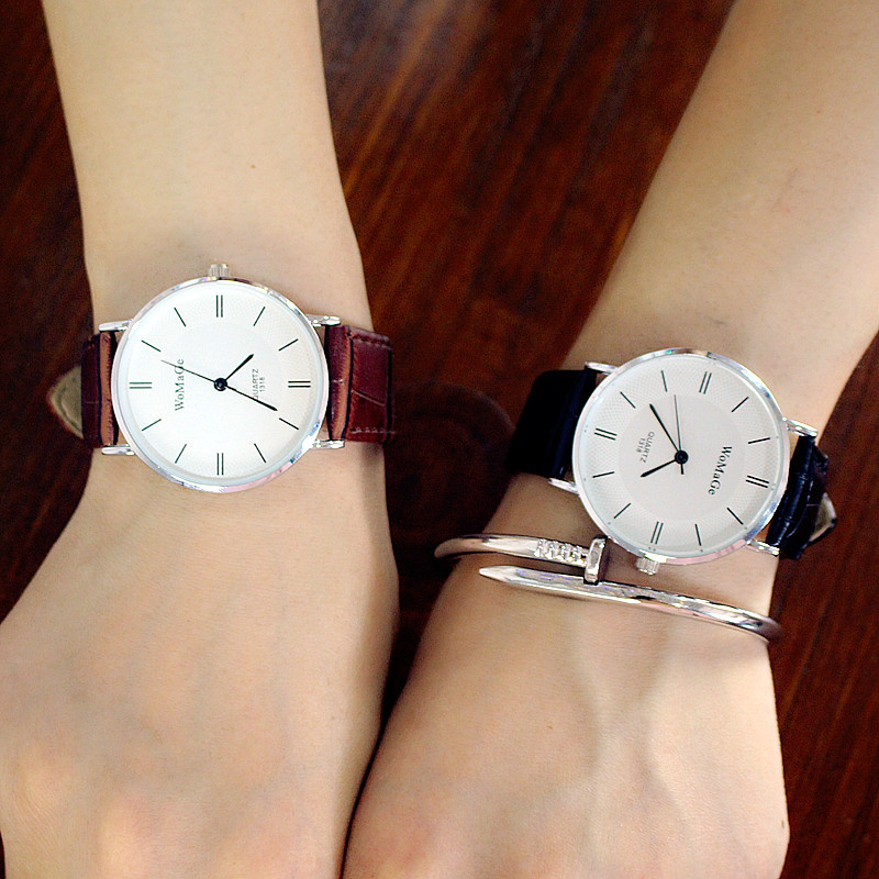 2018 New Scale Large Dial Leather Strap Casual Fashion Exquisite Precision High-end Simple Women's Quartz Watch