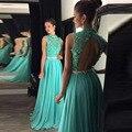 Зеленая мята Пром Dress Высокая Шея Аппликации Кружева Шифон Длинные Открытой Спиной Бисероплетение Вечернее Платье Платье Лонго PD316