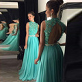 Mint verde prom dress alta neck lace apliques chiffon longo abrir voltar beading vestido de festa à noite vestido longo pd316