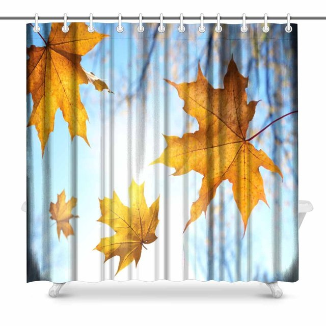 Aplysia Autumn Leaves Fabric Shower Curtain Decor With Hooks 72 X 72