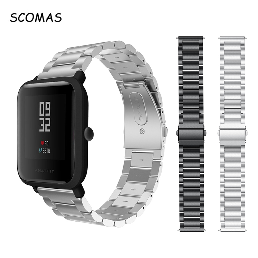 SCOMAS Stainless Steel Strap For Xiaomi HUAMI AMAZFIT BIP Replacement Bracelet With Metal Clasp Buckle Smart Watch Band