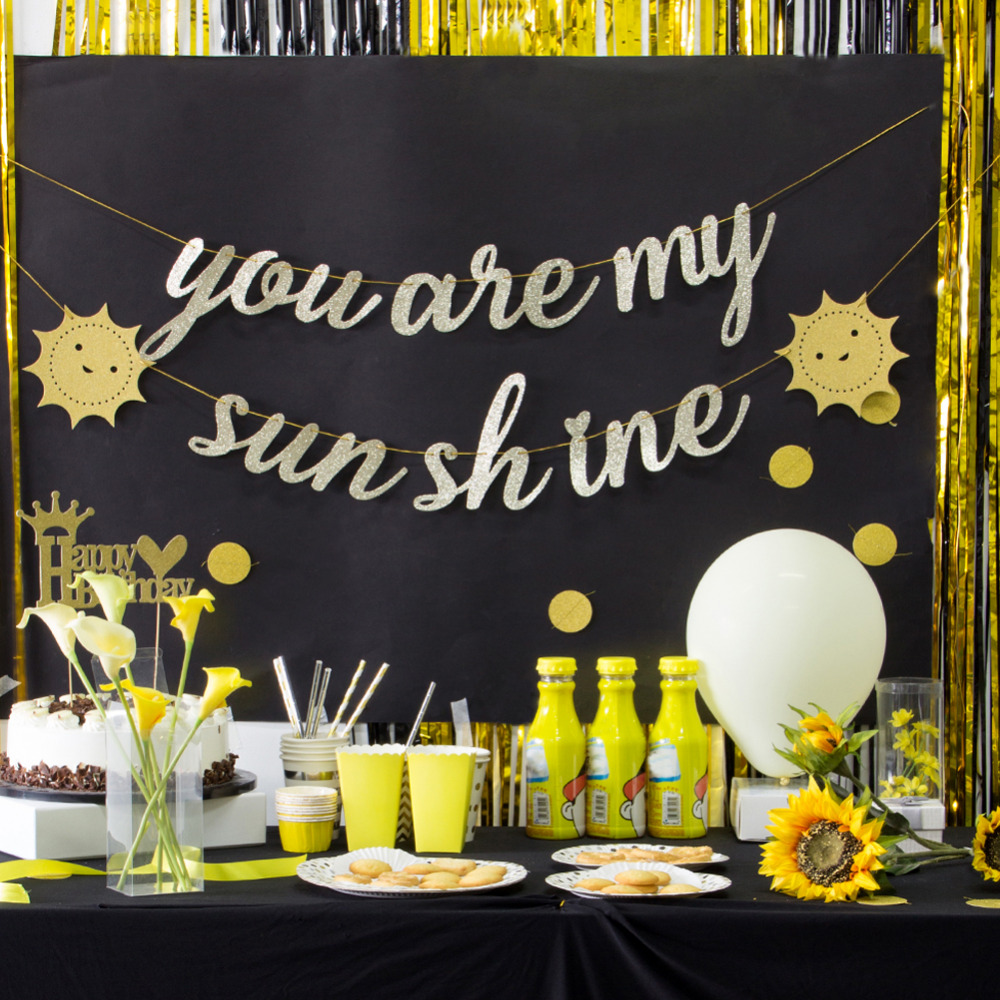 You Are My Sunshine Gold Glitter Banner Bunting Garland Kids 1st Birthday Theme Party Supplies Baby Shower Nursery Room Decor Party Diy Decorations Aliexpress