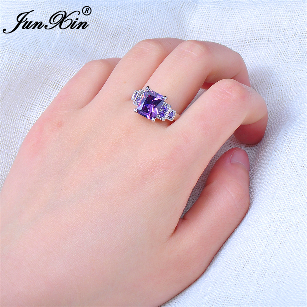 JUNXIN Male Female Purple Ring White Gold Filled Vintage Wedding ...