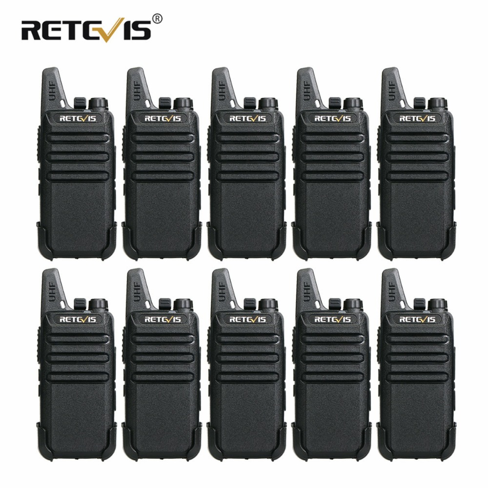 10 st Retevis RT22 Mini Walkie Talkie 2W VOX USB-laddningsbart tvåvägs radiostation Hotell / restaurang kommunikationsutrustning
