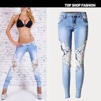 De alta calidad de La Manera de Las Mujeres Jeans pantalones ventas Calientes LvKong encaje Agujero de mezclilla de las mujeres pantalones pies pantalones pantalones de pierna