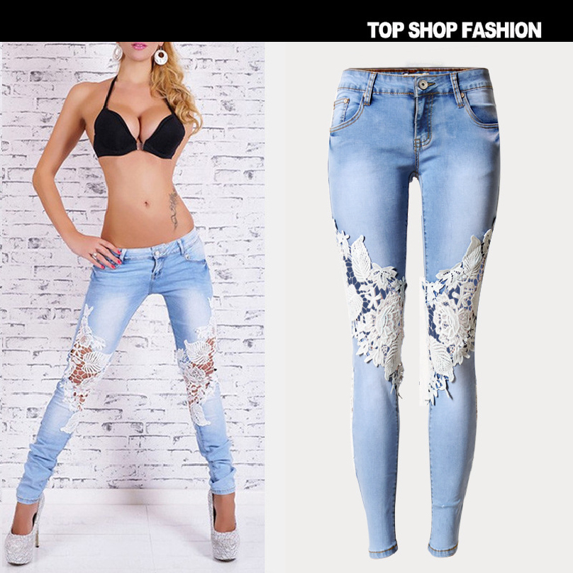 High quality Fashion Women Jeans pants Hot sales Hole LvKong lace women's denim trousers feet pants leg pants hanlu europe and the united states women s super elastic lace lvkong denim trousers fashion comfortable feet pants
