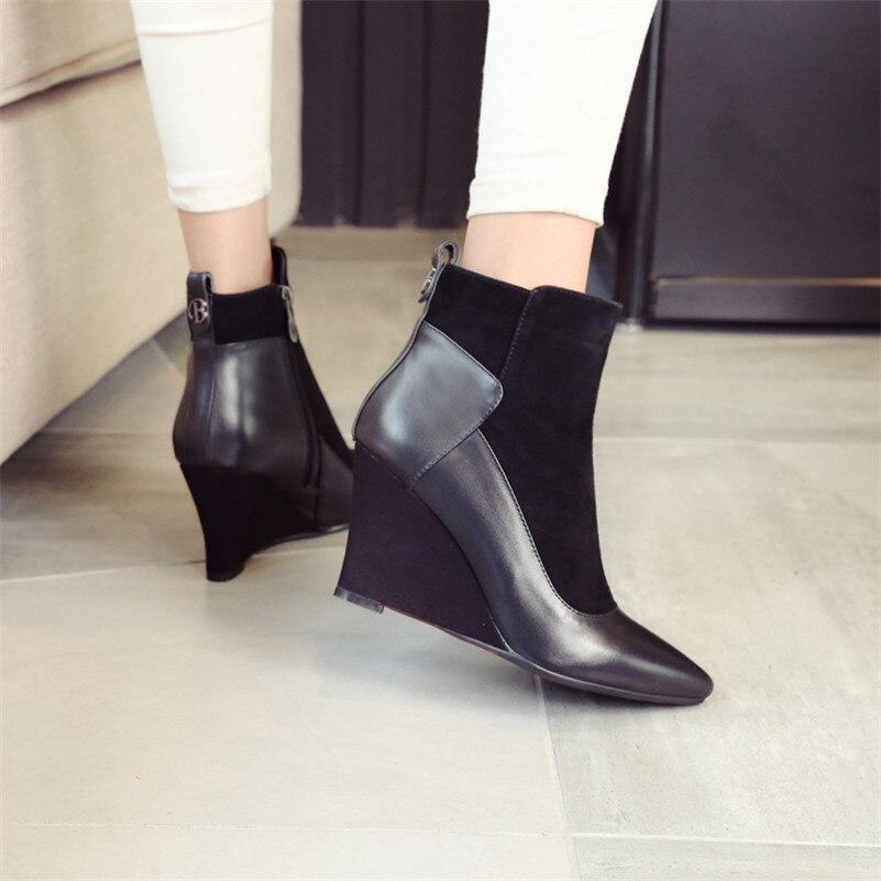 Alto Punta Botas Cuero De Mujeres Conasco Botines Cremallera Genuino Zapatos Nueva Llegada Con Cuñas Martin Negro 2 Tacón Mujer wa1wzOq