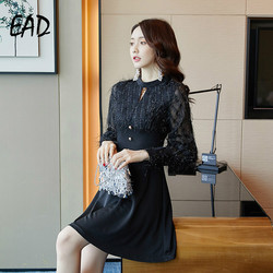 EAD Spring Chiffon Lady Transparent Lace Dress Women Sexy Mesh Party Dresses for Female Black Streetwear Buttom Casual Vestidos 3
