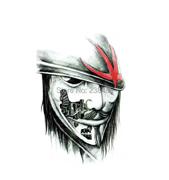 Online Shop 3d V Vendetta Mask Men Arm Leg Chest Shoulder Back Sex