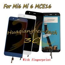 Лучшие 5.15 »новых Для Сяо Mi 6 Mi 6 MCE16 полный ЖК-дисплей дисплей + Сенсорный экран планшета Ассамблеи с отпечатков пальцев 100% тестирование + отслеживания