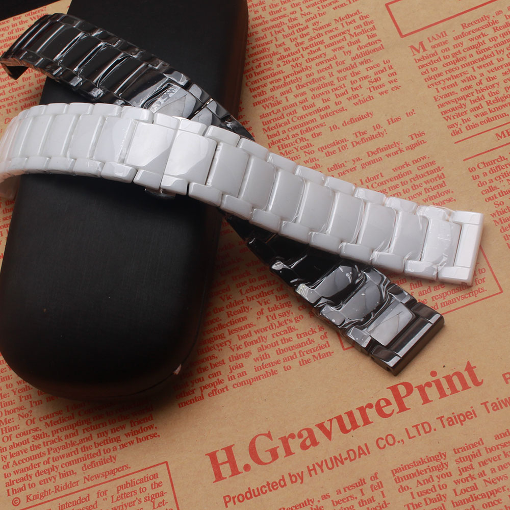 22mm Watchbands Black White Ceramic Pure Watch bands straps longer Watches  accessories fit Sumsang Gear S3 Frontier replacement 82809408841b
