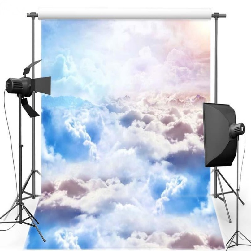 Blue Sky White Clouds Scenic Wall Backgrounds Vinyl cloth High quality Computer print party backdrop