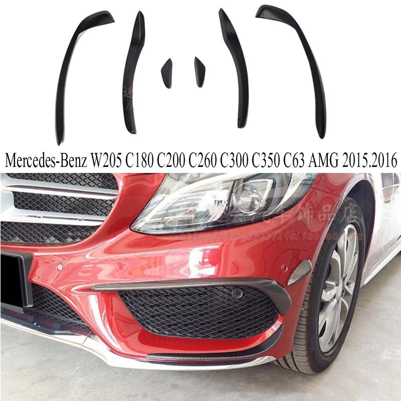 Front Lip Carbon Fiber Front Lip Spoiler For Mercedes-Benz W205 C180 C200 C260 C300 C350 ...