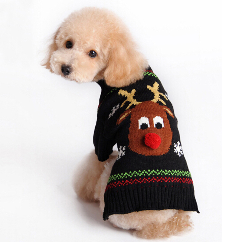 Christmas Reindeer with Red nose Snowflake Puppy Pet Cat Dog Sweater Knit Crochet UGLY CHRISTMAS SWEATER dog clothes XXS-L ...