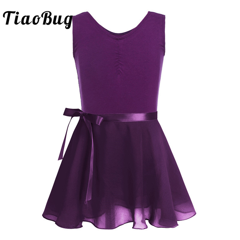 TiaoBug Kids Teens Cotton Sleeveless Ballet Tutu Dress Girls Gymnastics Leotard With Chiffon Skirt Set Ballerina Party Dancewear