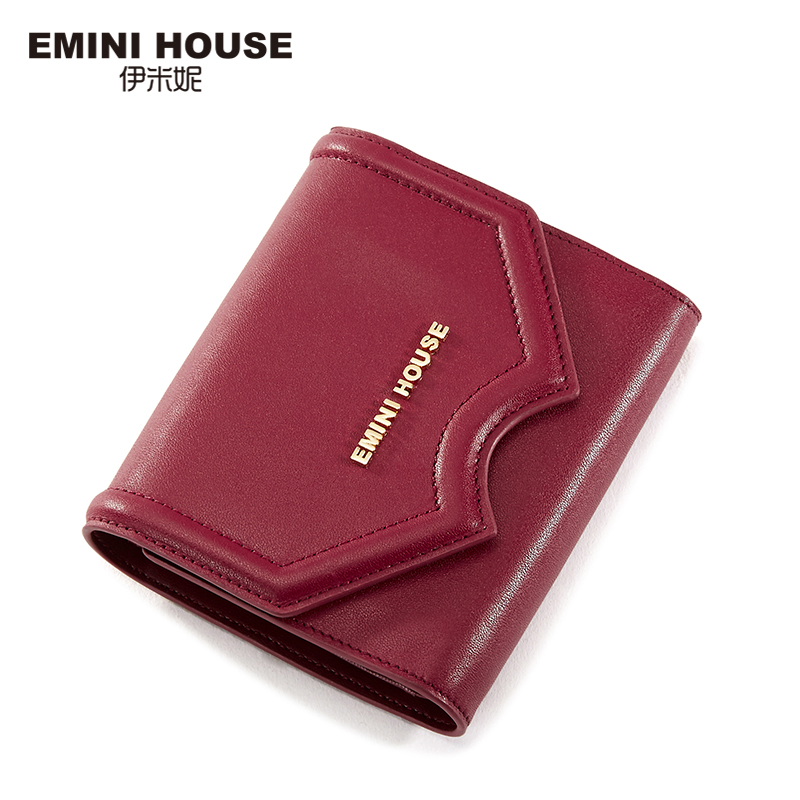 EMINI HOUSE Genuine Leather Women Wallet Short Wallet Three-Fold Lady Purse Multifunction Cow Leather Women Coin Purse