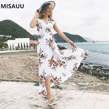 где купить Vintage Print Maxi Dress Waist Tie Boho Dresses Women Split Beach Long Dresses Sexy V-Neck Short Sleeve Summer Dress Plus Size дешево
