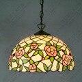 16 zoll tiffany stil Rose glas anhänger licht schlafzimmer studie farbe glas lampe E27 110-240 v