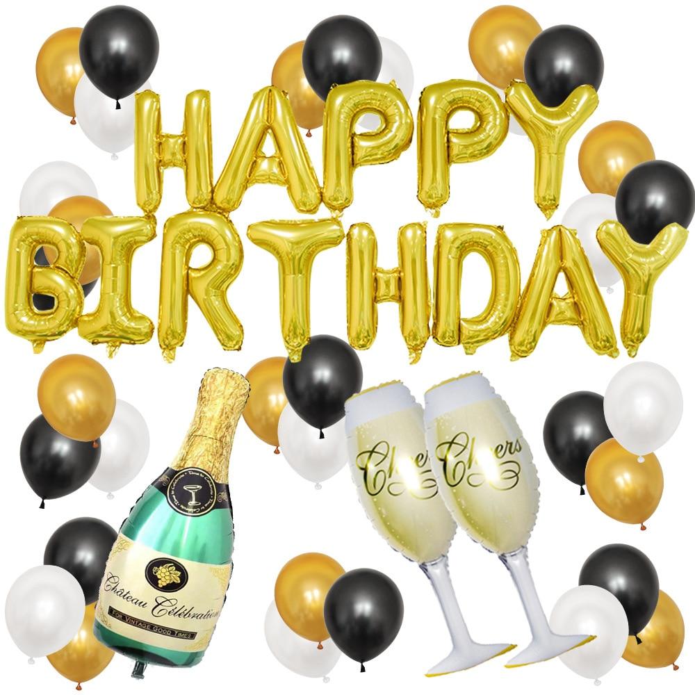 Birthday Party Balloon Wine Bottle Glass Champagne Valentines Day Decoration