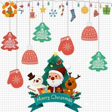 80PCS/lot Creative Red Green Christmas Tree Hat Tags Gift Candy Packing Bag Box Decorations Tag DIY Paper Crafts Party Supplies