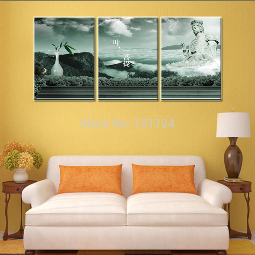 3 Panel Hot Sell Bodhi Leaf Pictures to Canvas Printing Wall ...