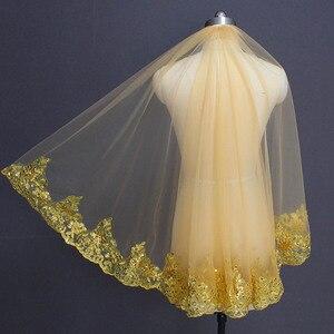 Image 5 - Grün Kurze Hochzeit Schleier Muslim Islamischen Eine Schicht Pailletten Spitze Braut Schleier mit Kamm Voile Mariage Braut Schleier