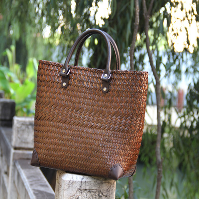 Top-handle Women Tote Straw Bag For Women Geometric Handmade Woven Basket Big Capacity Casual Tote Females Vintage Handbags 2018 handmade geometric woven sandal anklets
