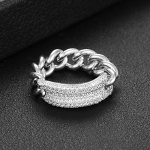 SISCATHY New Design Luxury Shiny CZ Chain Rings For Women Anniversary Party Bridal Wedding In Jewelry Making Gifts