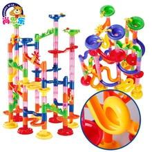 105 шт. DIY лабиринт шары трек строительные блоки игрушки для детей строительство мрамор гонка Запуск трубопровода блок обучающая игрушка игра