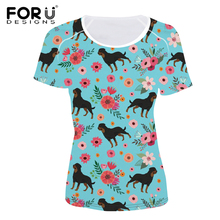 FORUDESIGNS Summer Rottweiler Dog Portrait T-Shirt Women Casual Black Tops Tee Shirts Femme Short Sleeve O-Neck Clothing Spanish
