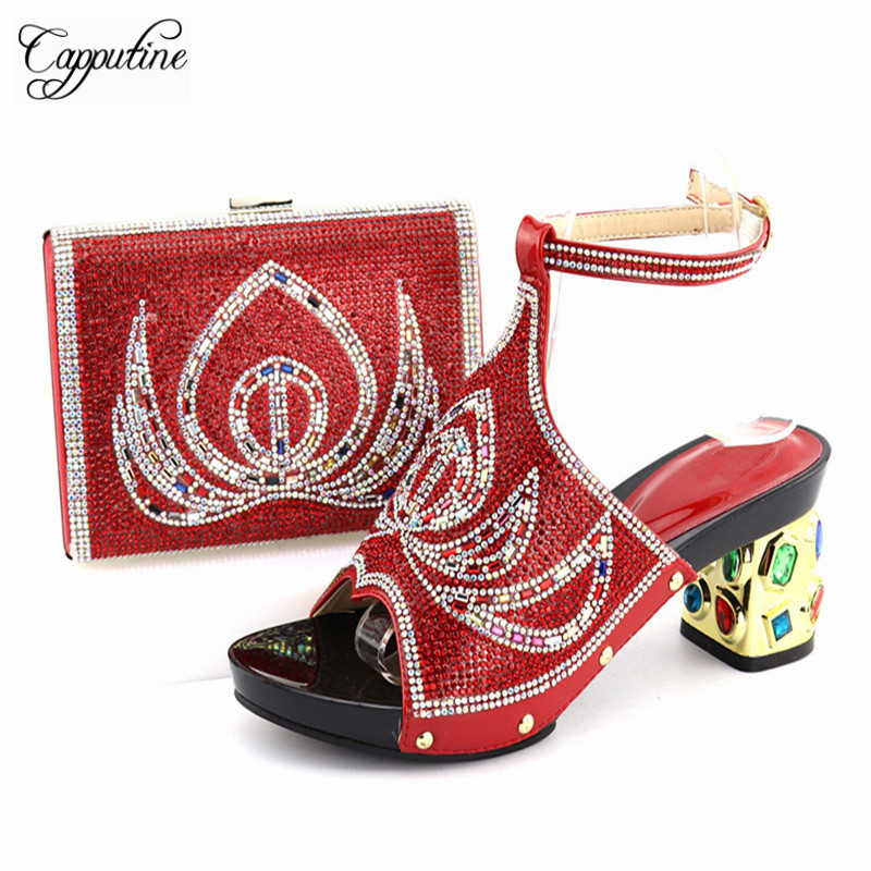 Capputine Latest African Shoes And Matching Bags Set Italian Rhinestone  Shoes And Bag Set for Party Nigerian Party Shoe and Bag -in Women s Pumps  from Shoes ... 008f54c288f4