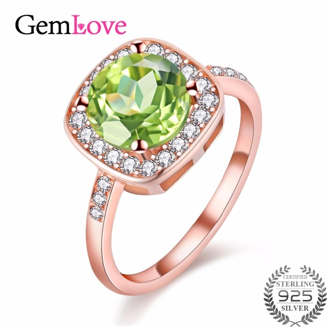 Gemlove Natural Olivine Peridot Ring Sterling Silver Jewelry for