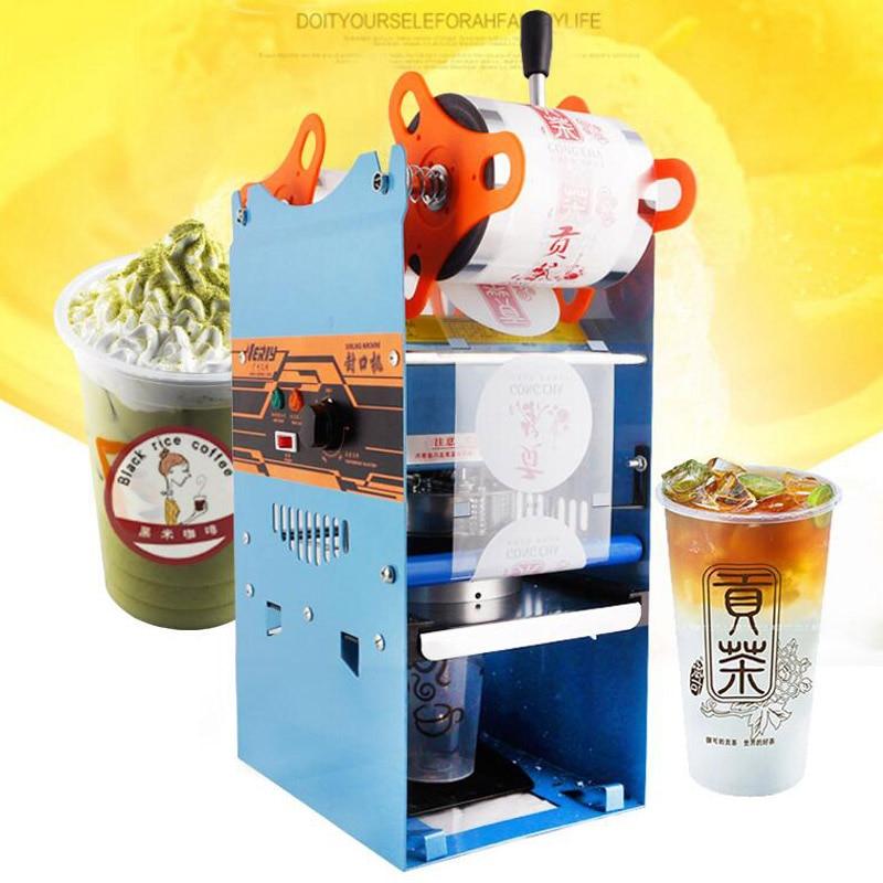WY802F cup sealer beverage cup sealing machine hand held milk cup sealer hot sealing machine 270W 0.3KWH 70 75 95mm cup diameter