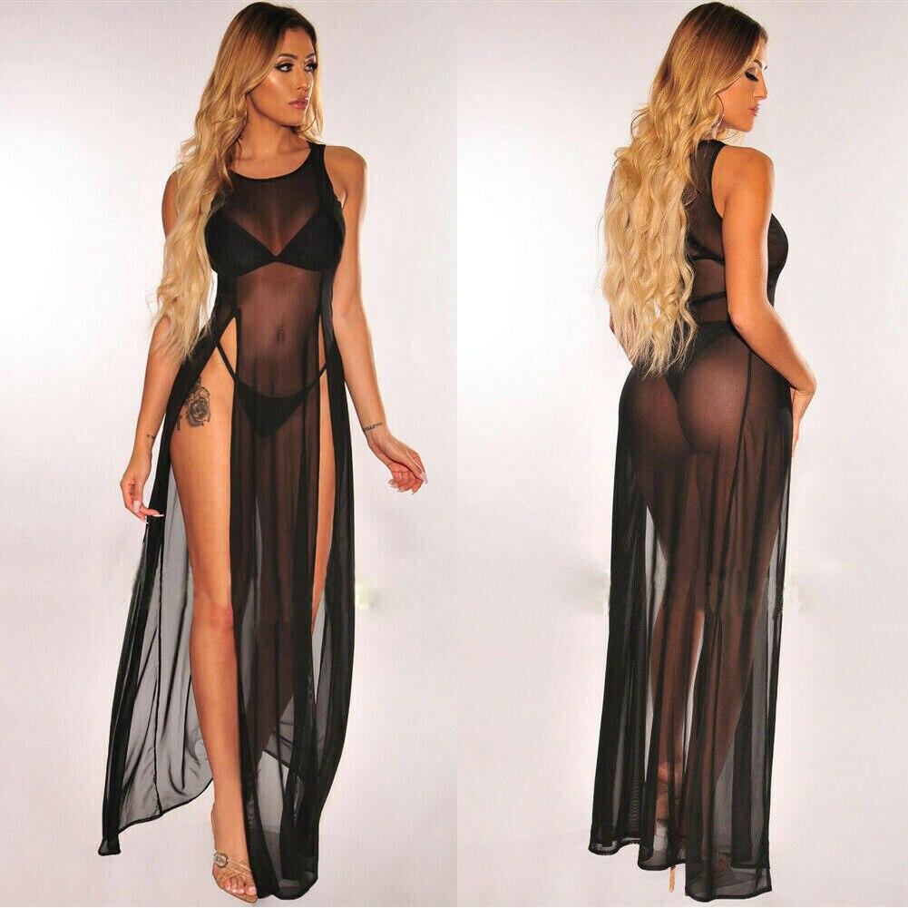 2019 Women's Bikini Swimsuit Cover Up Silk Summer Beach Wear Mesh Sheer Long Dress Summer Bathing Suit Holiday Hot One Piece