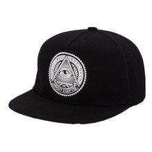 2019 New Fashion Round Label Triangle Eye Illuminati Snapback Caps Women Adjustable Baseball Cap Snapbacks Hip