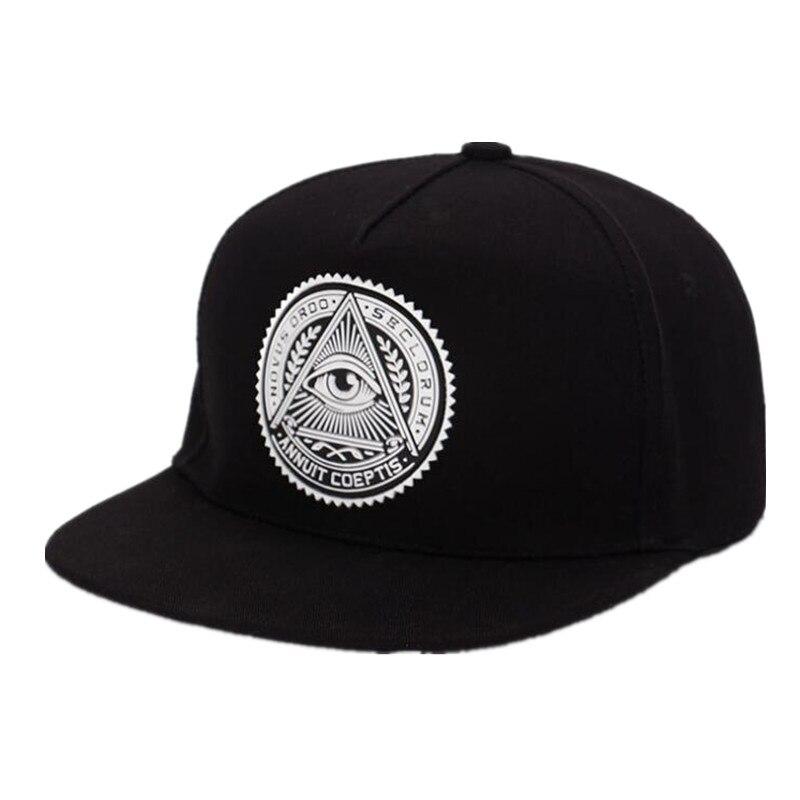 2019 Nova Moda Rodada Rótulo Triângulo Olho Illuminati Snapback Tampões Mulheres Snapbacks Boné de Beisebol Ajustável Hip Hop Chapéus