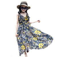 Bohemian Dressses For Girls Floral Maxi Dress For Party And Wedding Summer Kids Beach Dress 5 7 9 11 12 Years Vestidos Infantils