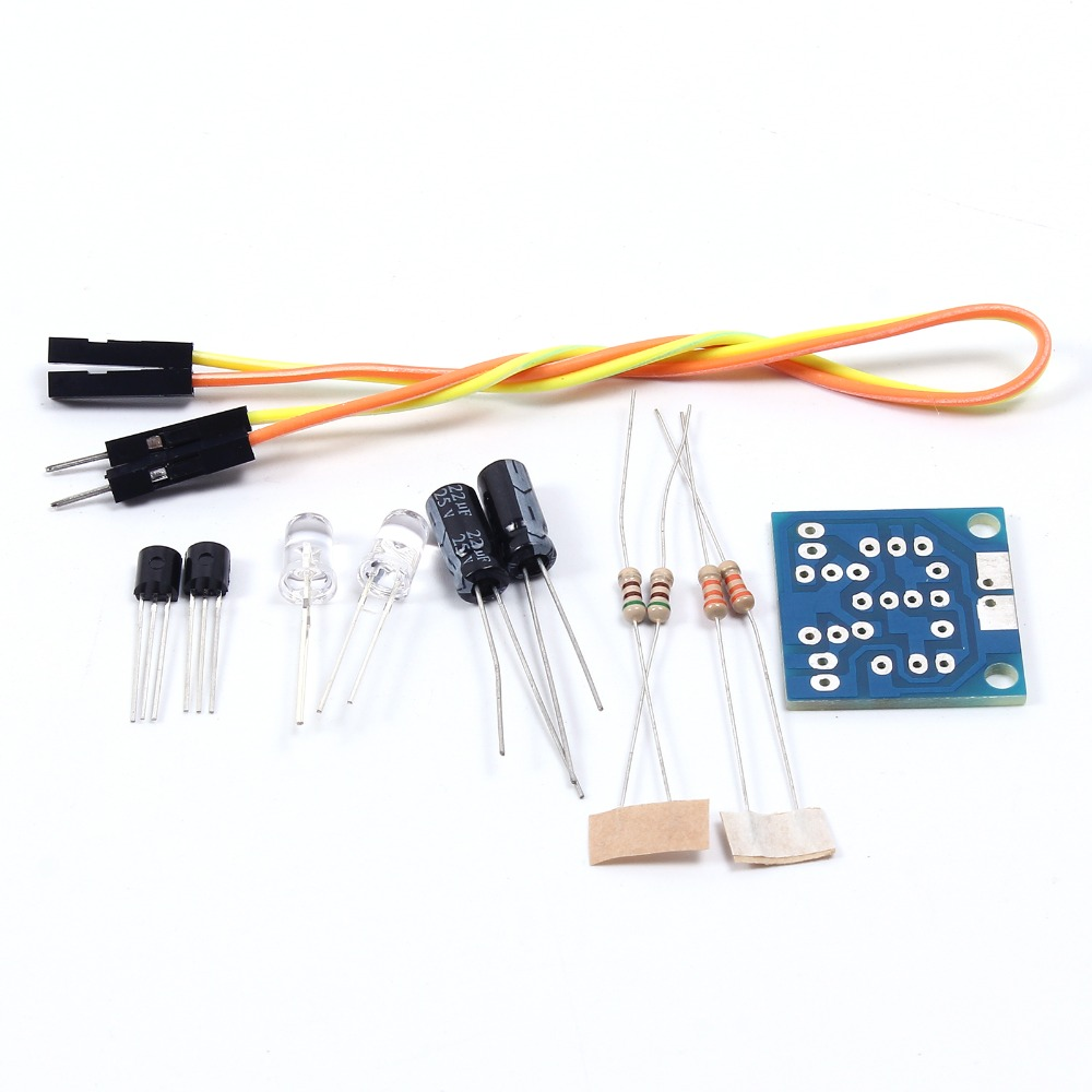 Detail Feedback Questions About 10pcs Lot Diy Kit Simple Flash Led Blinking Circuit With A Capacitor Transistor And Two Resistors Pcb Board X1 9014 X2 Blue 5mm 30k Resistor 510ohm 22uf Electrolytic Dupont Wire