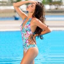 2018 New One Piece Swimsuit Women Sexy Bandage Printed Bathing Suits Female Bodysuits Swimwear Backless Beachwear Monokini Mujer
