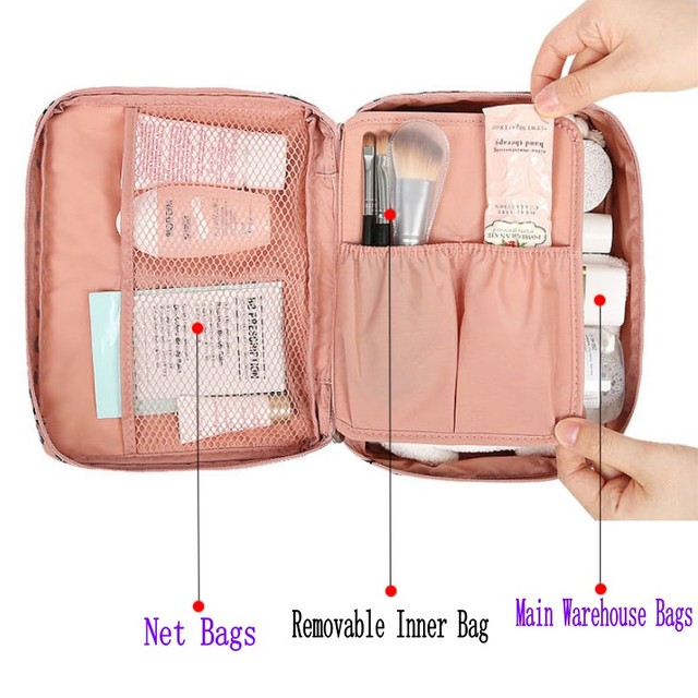 HMUNII Zipper Man Women Makeup bag nylon Cosmetic bag beauty Case Make Up Organizer Toiletry bag kits Storage Travel Wash pouch