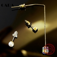 CARA 3pcs Set Punk Style Irregular Dangling Cube Ear Studs Gold Color Long Earrings Set Women