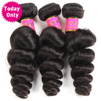 Today Only Brazilian Loose Wave Bundles Non Remy Hair Extensions 100 Human Hair Bundles Natural Black