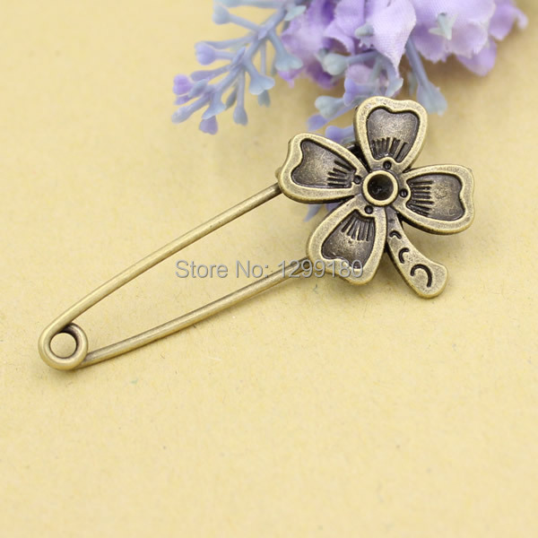 10pcs/lot Alloy Antique Bronze Vintage Flower Brooch Safety Pins For Garment Accessories Scarf Clip pins Length:56mm (K02073)