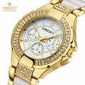 2016 marca de lujo kingsky relojes de oro las mujeres pulsera de moda vestido de cuarzo reloj de pulsera de señora casual reloj relogio feminino