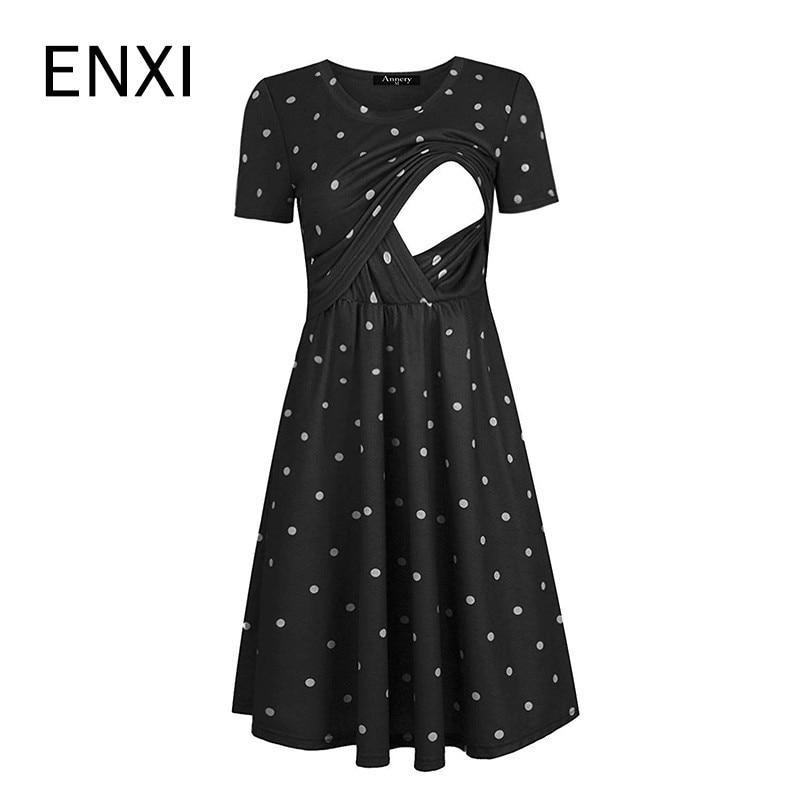 ENXI Maternity Dresses Round Neck Short Sleeve Dot Printing Lactation Breastfeeding Long Dress