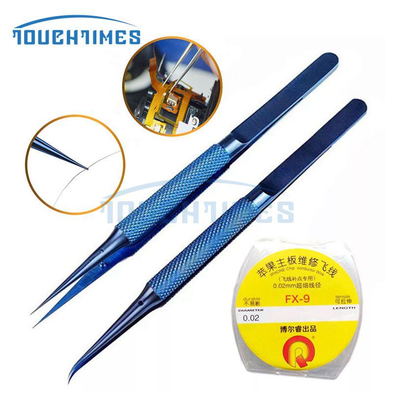 Titanium Alloy Fly Line Fingerprint Tweezers Clip Jumper Line 0.02mm for phone Copper Wire Repair