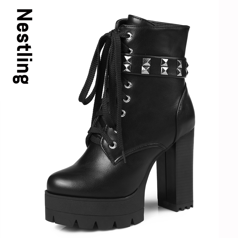 New 2017 Autumn Martin Boots Fashion Leather Boots Casual High Heels Platform Shoes Woman Rivets Lace Up Zip Women Boots 2016 autumn new arrival thick heels ankle martin boots fashion rivets skull genuine leather lace up punk high heels shoes women