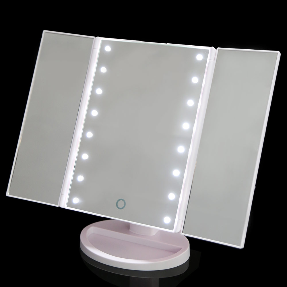 New Portable Three Folding Table LED Lamp Luminous Makeup Mirror Cosmetic  Mirror Adjustable Tabletop Countertop Light Mirror