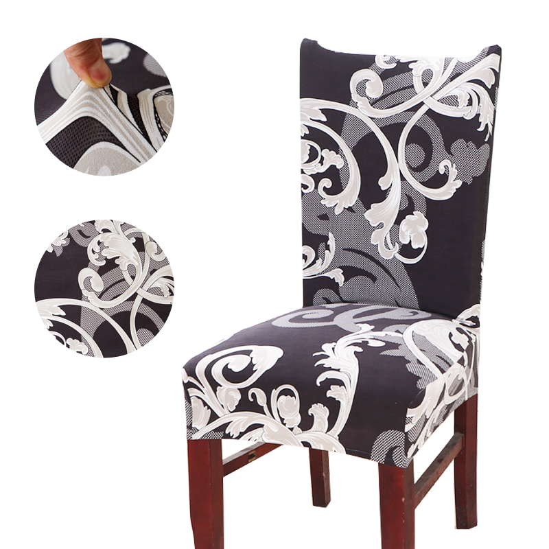 Vintage Dark Printing Chair Cover dining Removable Elastic wedding Banquet Folding Dining Room Chair Cover For Kitchen Chair